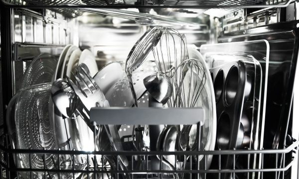 Lower basket in ASKO dishwasher.